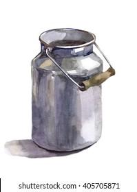 milk-can dark watercolor,churn