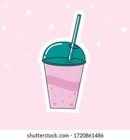 milkshake cup illustration  on pink background.
