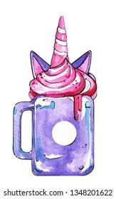 Milkshake unicorn cup whipped cream marshmallow watercolor isolated