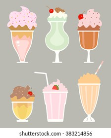 milkshakes with cream, berries. raster
