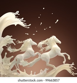 milky horses running over white splashes through drops on brownish background