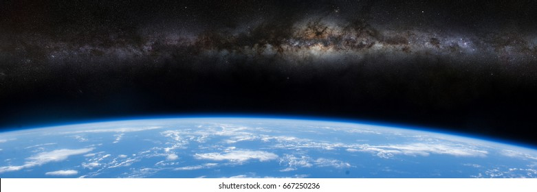 Milky Way galaxy over the horizon of planet Earth (3d illustration banner, elements of this image are furnished by NASA)
