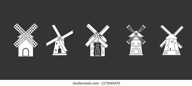 Mill icon set white isolated on grey background