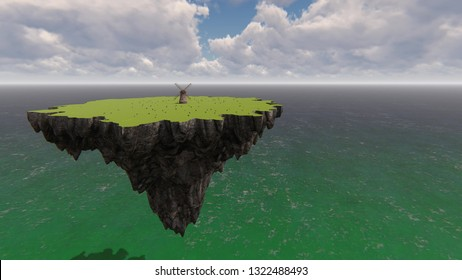 Mill and sheep on the background of the sea 3d render