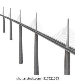 Millau Viaduct Bridge on white. 3D illustration