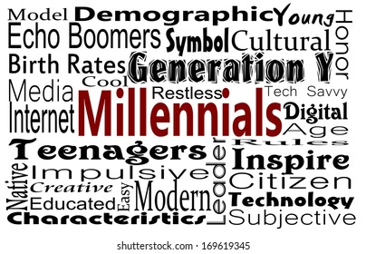 Millennial or Generation Y concept with word collage