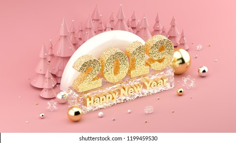 Millennial pink colored isometric 3D installation with 2019 Happy New Year's Wish. Trendy illustration for New Year's and Christmas banners, posters, greeting cards and invitations. 3d rendering.