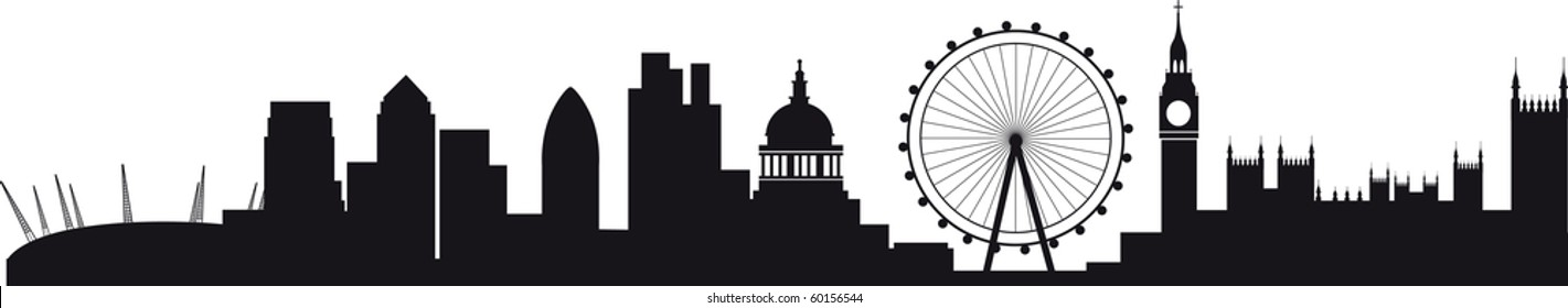the millennium dome, canary wharf, the wheel, the city and westminster and big ben
