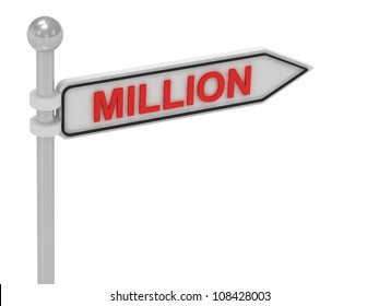 MILLION arrow sign with letters on isolated white background