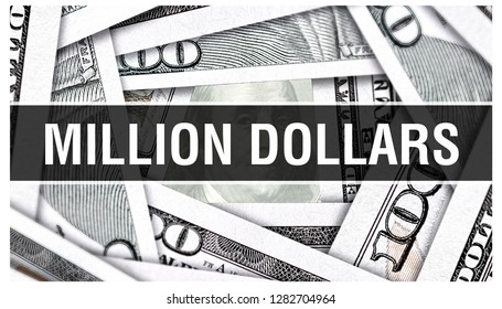 Million dollars Concept Closeup. American Dollars Cash Money,3D rendering. Million dollars at Dollar Banknote. Financial USA money banknote Commercial money investment profit concept