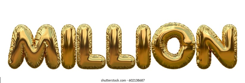 Million number word made from gold foil balloons. 3D rendering