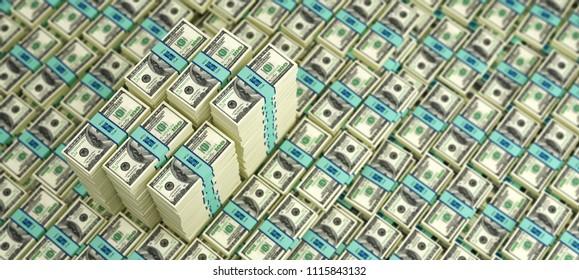 Millions of Dollars - Piles of 100 Dollar bills - 3D Rendering