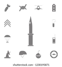 Millitary knife icon. Set of military elements icon. Quality graphic design collection army icons for websites, web design, mobile app