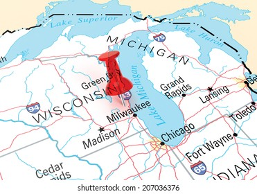 Milwaukee Wisconsin Map Stock Illustrations Images Vectors