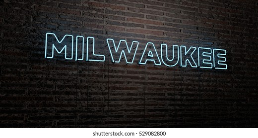 MILWAUKEE -Realistic Neon Sign on Brick Wall background - 3D rendered royalty free stock image. Can be used for online banner ads and direct mailers.