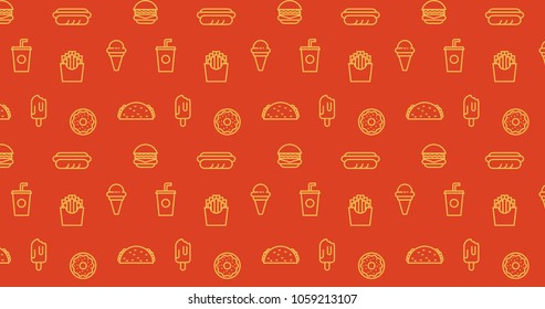 Mimosa yellow on tangerine tango color fast-food-ice-cream-hot-dog-fries pattern ornament decorative background with geometric shapes. Colorful wrapping paper or backdrop.