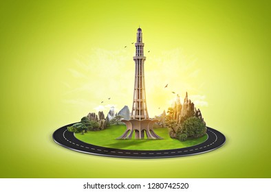 Minar e Pakistan. Celebration Card. Creative a beautiful background for Independence Day. Pakistan day green  background. Illustration