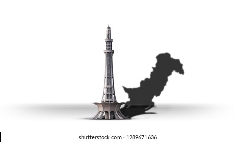 Minar e Pakistan showing Pakistan map in shadow for happy Resolution Day on white background. - Image