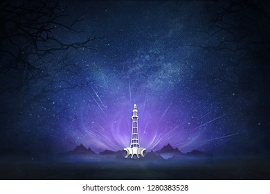 Minar-e-Pakistan 23rd March 1940. Pakistan's Resolution Day. Creative a beautiful blue and purple background for Pakistan day