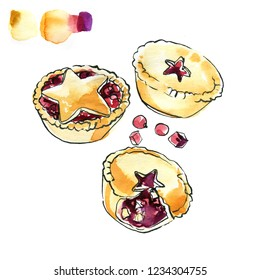 Mince pie. Christmas english buns.  Sketch of watercolor and line ink on a white background.