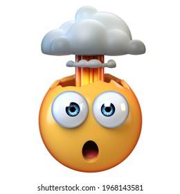 Mind blown emoji, exploding head emoticon on white background, 3d rendering