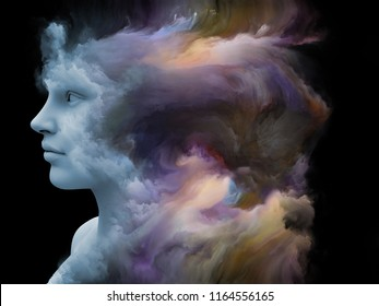 Mind Fog series. 3D illustration of human face morphed with fractal paint on the subject of inner world, dreams, emotions, creativity, imagination and human mind