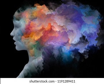 Mind Fog series. 3D rendering made of human head morphed with fractal paint on the subject of inner world, dreams, emotions, creativity, imagination and human mind