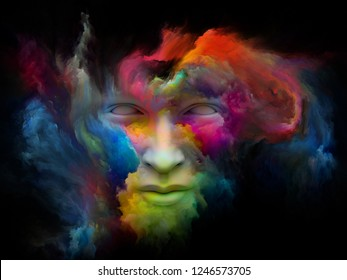 Mind Fog series. Composition of 3D rendering of human face morphed with fractal paint on the subject of inner world, dreams, emotions, imagination and creative mind