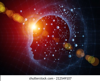 Mind Geometry series. Arrangement of Human profile, math and design elements on the subject of reason, science, technology and education