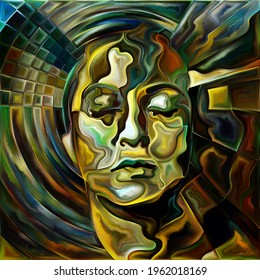 Mind Over Matter series. Human head radiating rays and waves on subject of powers of human mind