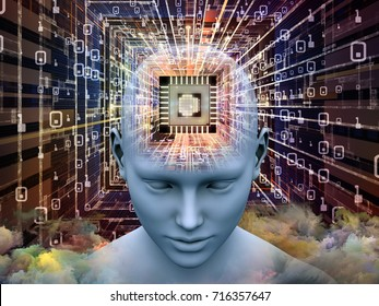 Mind Processor series. 3D illustration of Human head with CPU in perspective on the subject of  artificial intelligence, mind, mass media and modern technology