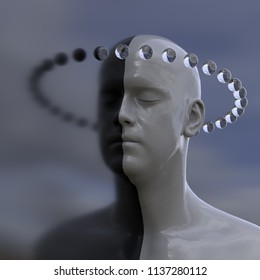Mind reflection, two faces as one, 3d illustration
