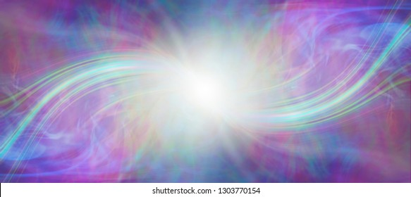 Mindfulness connection with the Divine Source - central white energy orb with a symmetrical bright laser light coming in from each side against a pink blue green gaseous background
