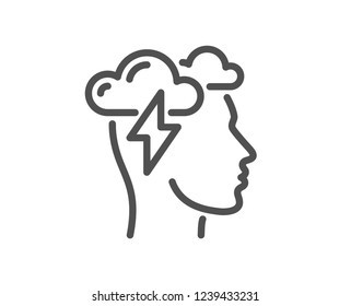 Mindfulness line icon. Psychology sign. Cloud storm symbol. Quality flat web app element. Line design Mindfulness stress icon.