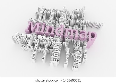 Mindmap, business keyword and words cloud. For web page or design, as graphic resource, texture or background. 3D rendering.