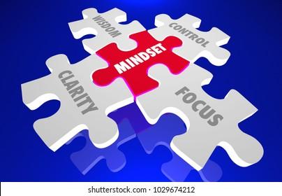 Mindset Clarity Control Focus Wisdom Knowledge Puzzle 3d Illustration