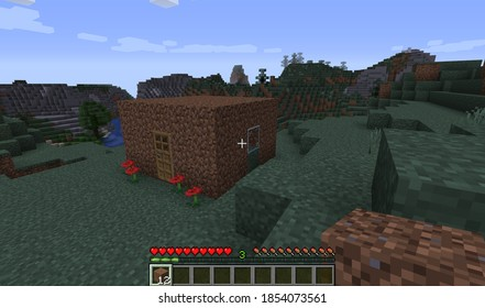 Minecraft Game – November 12 2020: Sample of Simply Dirty House in Minecraft Game 3D illustration