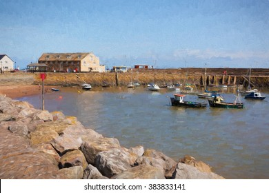 Minehead harbour Somerset in summer with blue sky on a beautiful day illustration like oil painting
