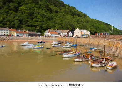Minehead Somerset England uk boats in harbour in summer with blue sky on a beautiful day illustration like oil painting