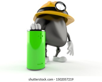 Miner character with battery isolated on white background. 3d illustration