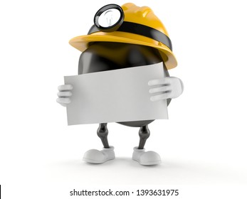 Miner character holding blank sheet of paper isolated on white background. 3d illustration