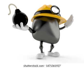 Miner character holding bomb isolated on white background. 3d illustration