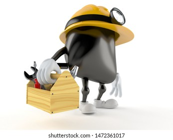 Miner character holding toolbox isolated on white background. 3d illustration