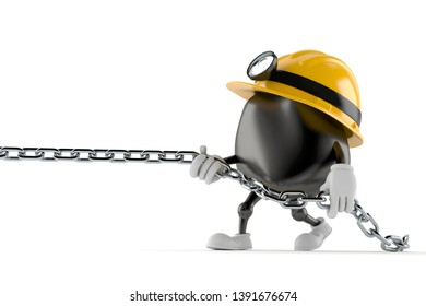 Miner character pulling chain isolated on white background. 3d illustration