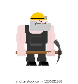 Miner worker mining isolated. collier with pickaxe. Pitman is at work in mine. Working Coal Mining.