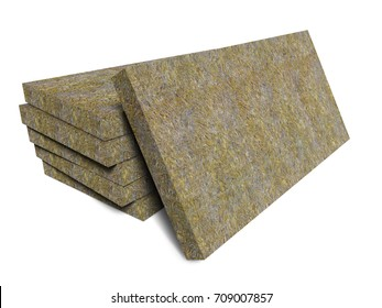Mineral basalt rock wool mats stack isolated on white background. Thermal insulation construction material. 3D illustration.