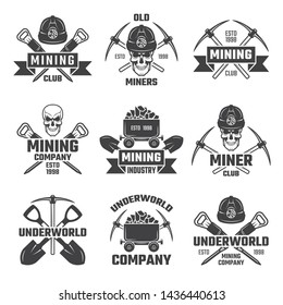 Mineral and gold mining. emblems mine industrial of set illustration