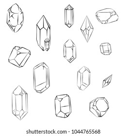 Minerals, Crystals, Gems, and Diamonds. Simple Isolated Set. Outline sketch