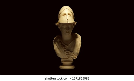 Minerva Bust Sculpture White Cream Bone Color 3d illustration render