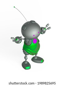 mini bot is standing up in white background in isometric view, 3d illustration